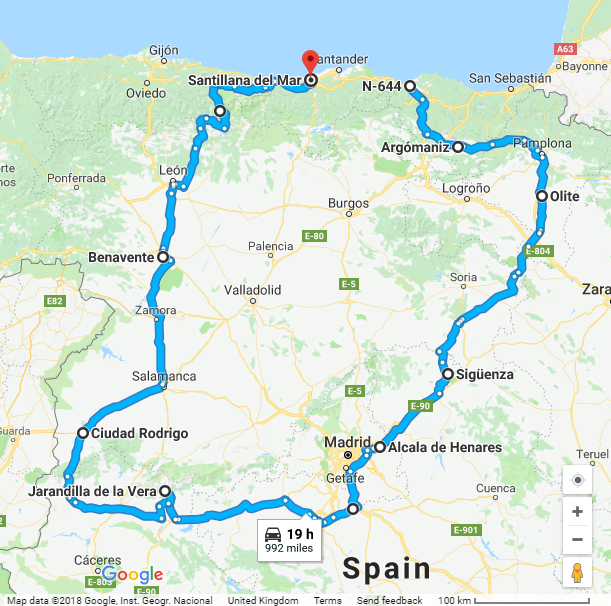 Map Of Tour Of Spain 2017.Touring In Spain 2017 Gripman